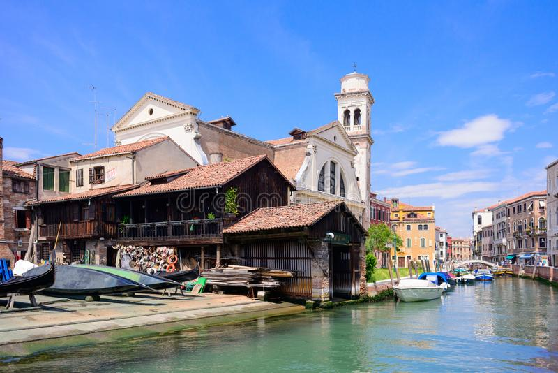 Squero di San Trovaso. Workshop for making gondolas, Venice, Ital.  stock image