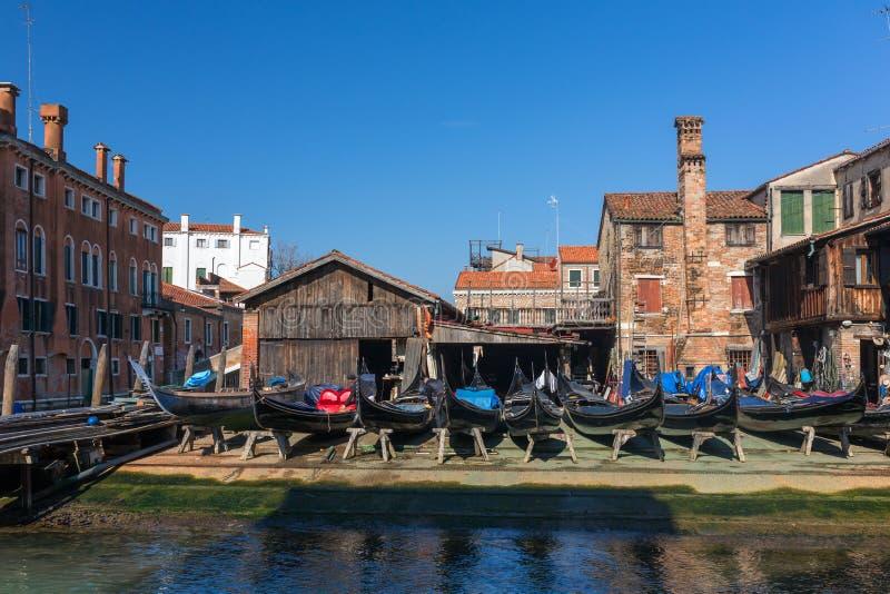 Squero di San Trovaso. Workshop for making gondolas in Venice, Italy stock photography