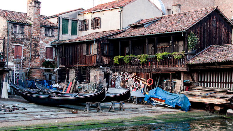 Squero San Trovaso in Venice, historic landmark. Of building and repairing gondolas stock photo
