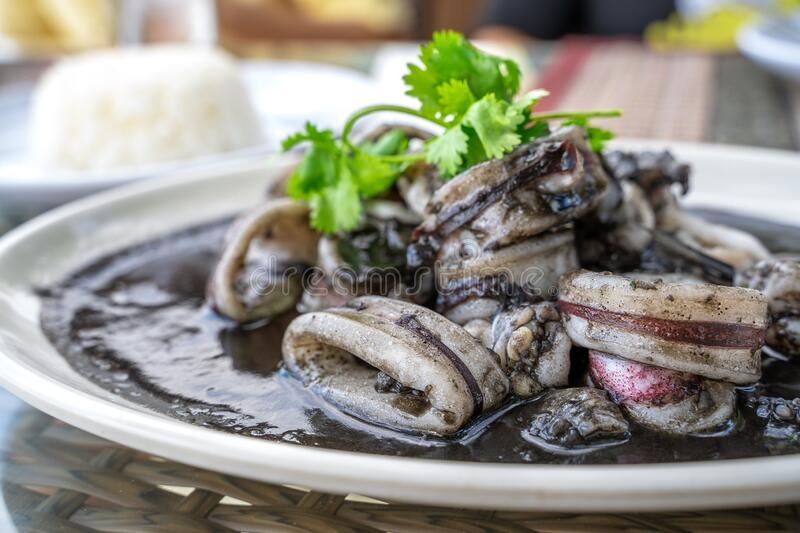 Squid black soup, local food in eastern Thailand.  stock photos