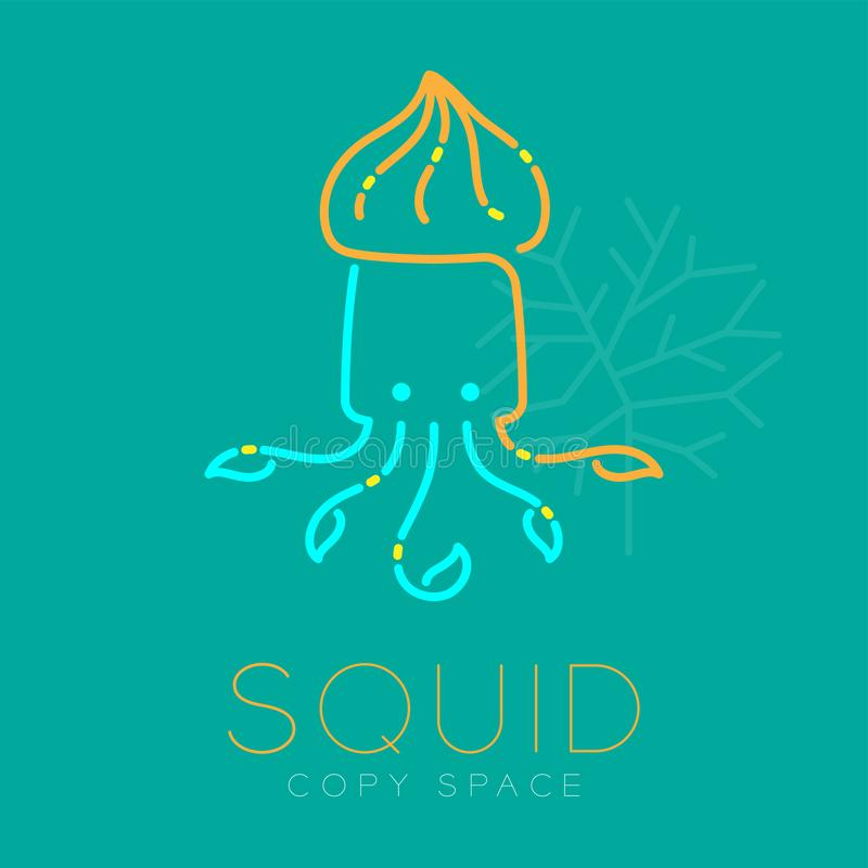 Squid and Coral logo icon outline stroke set dash line design illustration blue orange and yellow color isolated on green royalty free illustration