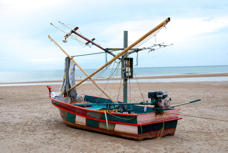 Squid fishing boat royalty free stock image