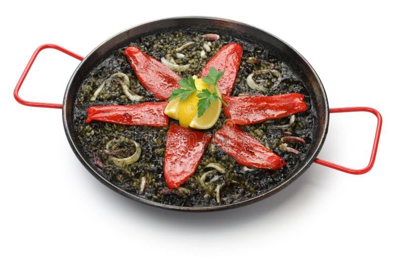 Squid ink paella. Spanish dish stock photos
