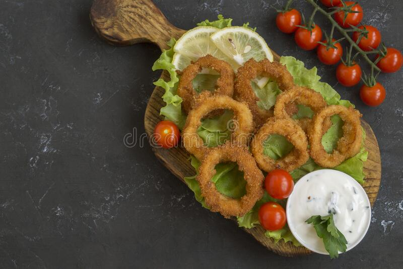 squid rings deep fried royalty free stock photography