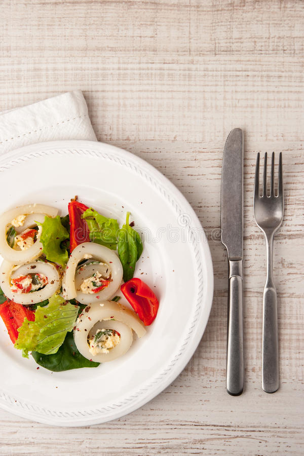Squid roll with cheese and vegetables on the ceramic plate vertical stock photography