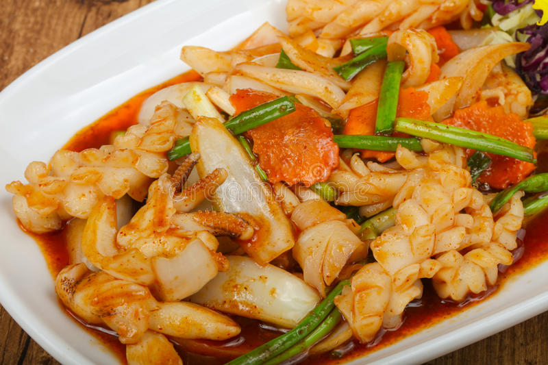 Squid in sauce royalty free stock photography
