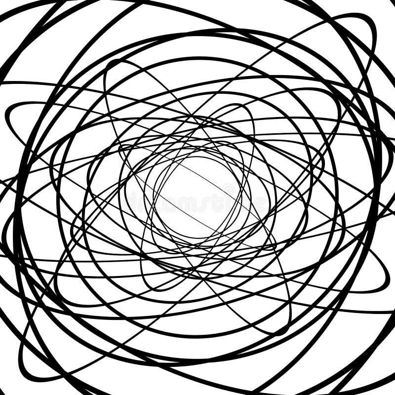 Squiggle squiggly cirklar, ovals, linjer Spiral som göras av slumpmässigt royaltyfri illustrationer