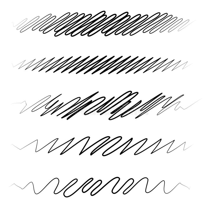 Free Squiggle / Squiggly Wavy Line Stripe Set Of 5 Stock Photography - 154370972