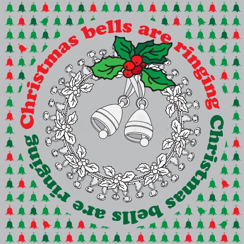 Squillo di campane di Natale Carta accogliente d'annata di natale di vettore illustrazione di stock