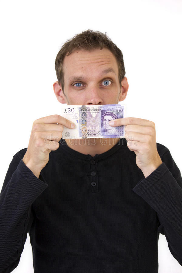 Squinting Money For Mouth Stock Images