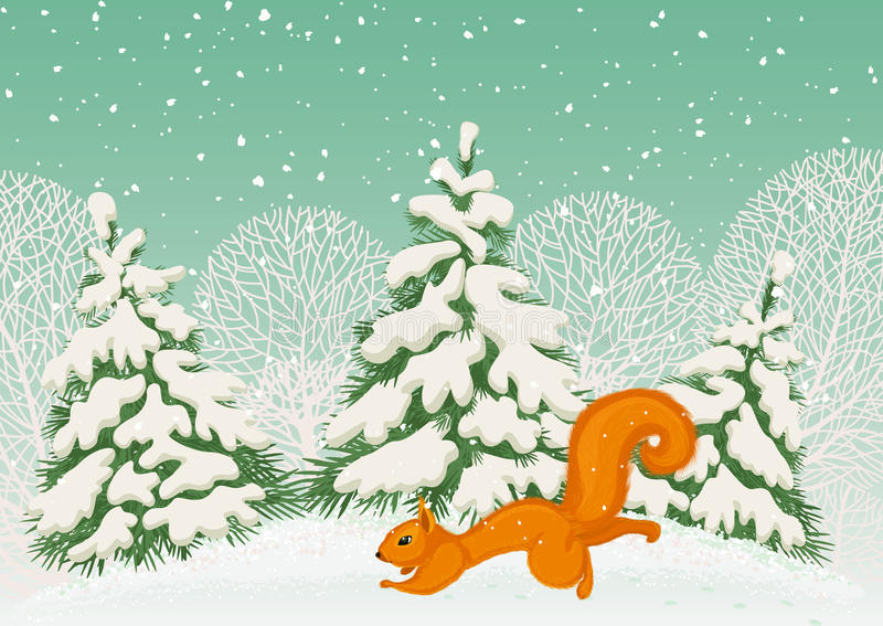 Download Squirrel stock vector. Image of snowy, winter, wild, card - 26345968