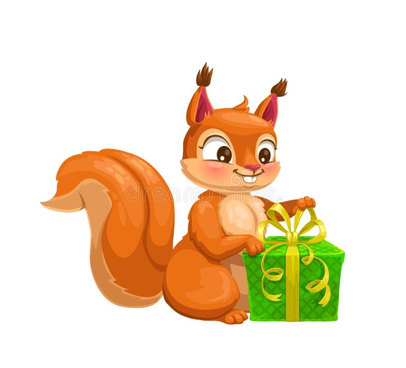 Squirrel animal with gift box, cartoon character vector illustration