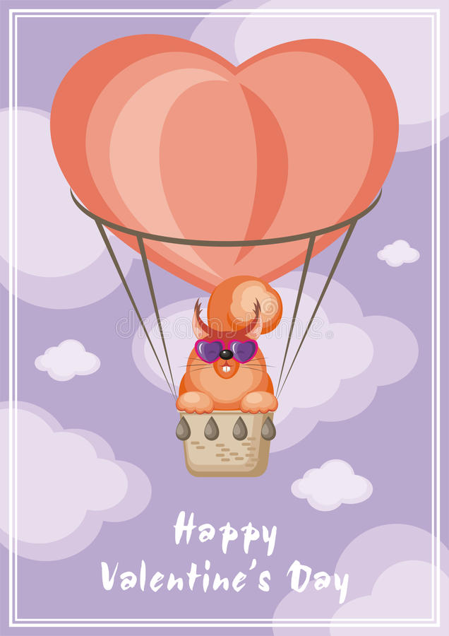 Squirrel and balloon. Greeting card happy Valentine`s day. Funny animal flying in a hot air balloon royalty free illustration
