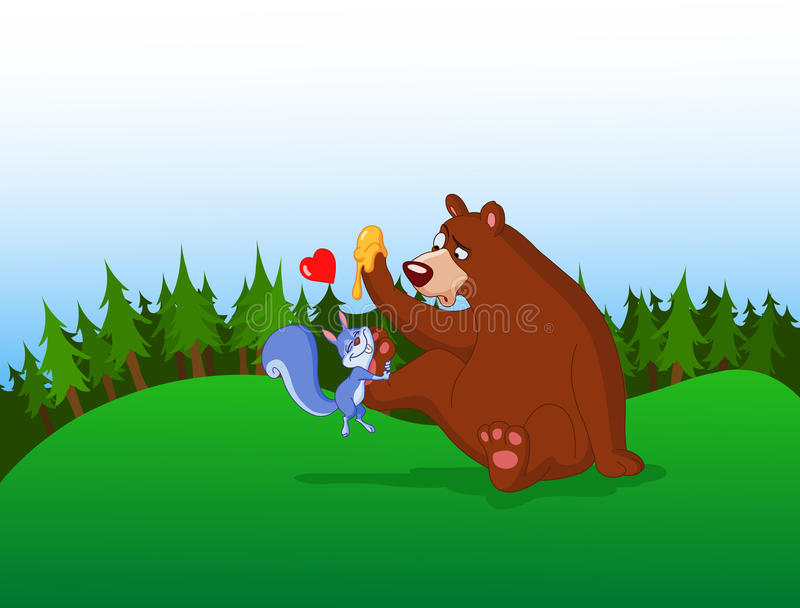 Download Squirrel and bear stock vector. Image of forest, valentine - 12469146