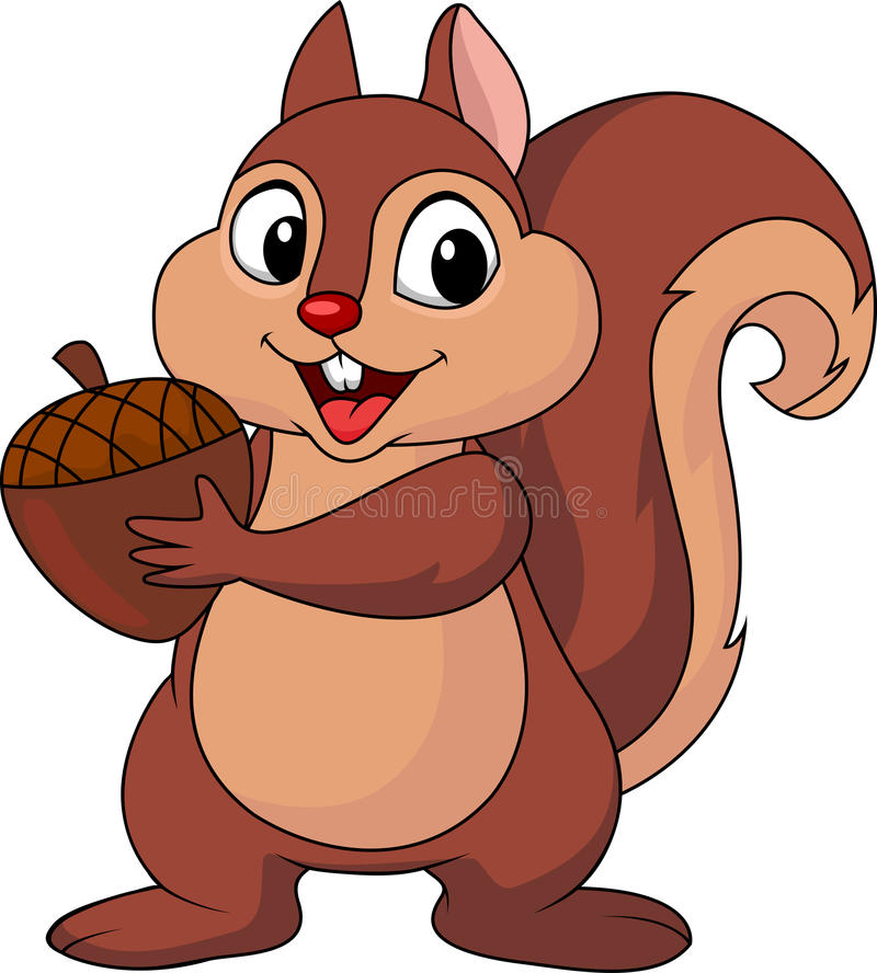 Squirrel cartoon with nut vector illustration