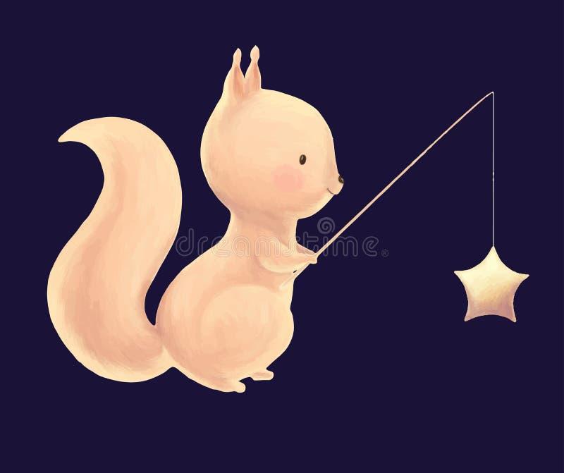 Squirrel catch the stars vector illustration
