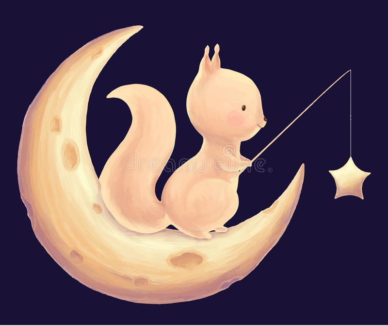 Squirrel catch the stars royalty free illustration