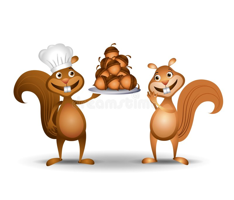Squirrel Chef With Nuts. An illustration featuring a squirrel wearing chef's hat and holding a platter of acorns as his female companion admires his nuts