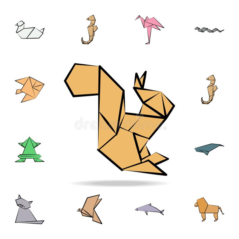 Squirrel colored origami icon. Detailed set of origami animal in hand drawn style icons. Premium graphic design. One of the. Collection icons for websites, web vector illustration