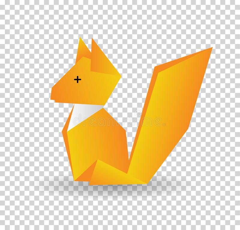 Squirrel colored origami style icon. Element of animals icon. Made of paper in origami technique vector Illustration royalty free illustration