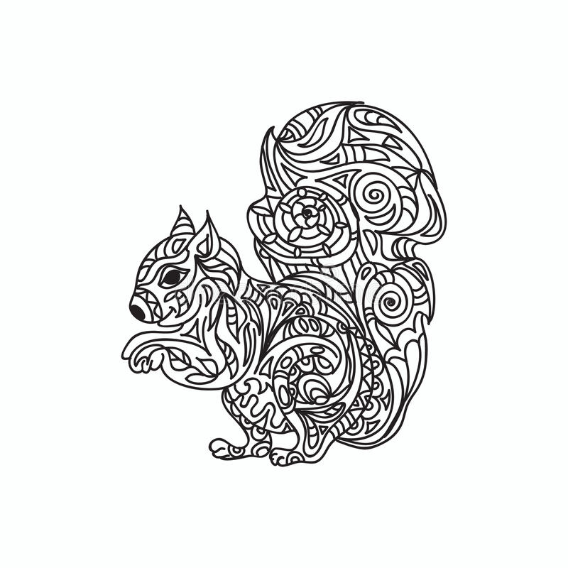 Squirrel coloring page stock illustration. Illustration of ...