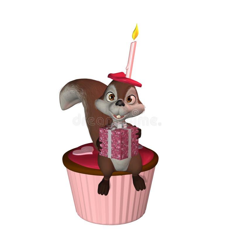 Squirrel con il bigné 1 illustrazione di stock