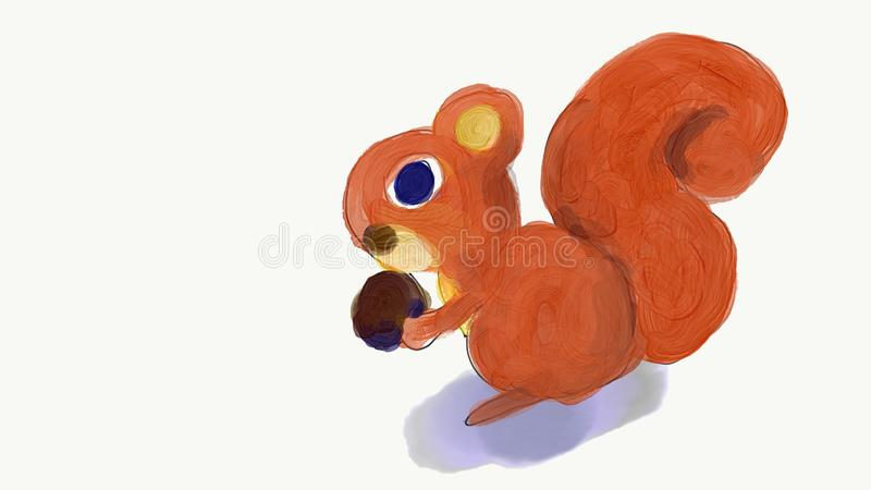 Squirrel eat nut painting illustration. With isolated white background vector illustration