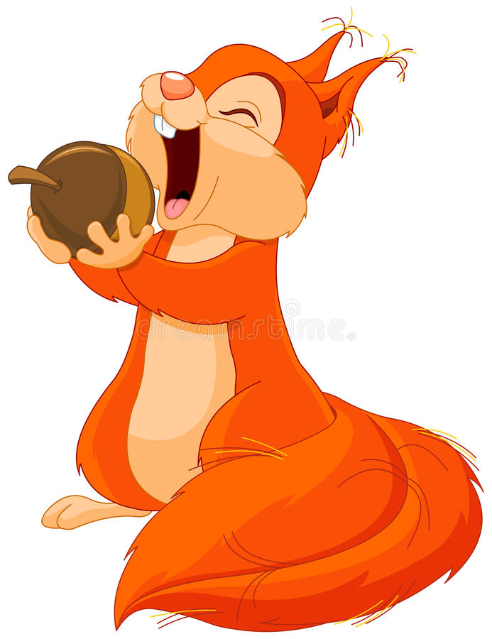 Squirrel Eats Nut. Illustration of cute squirrel eats nut