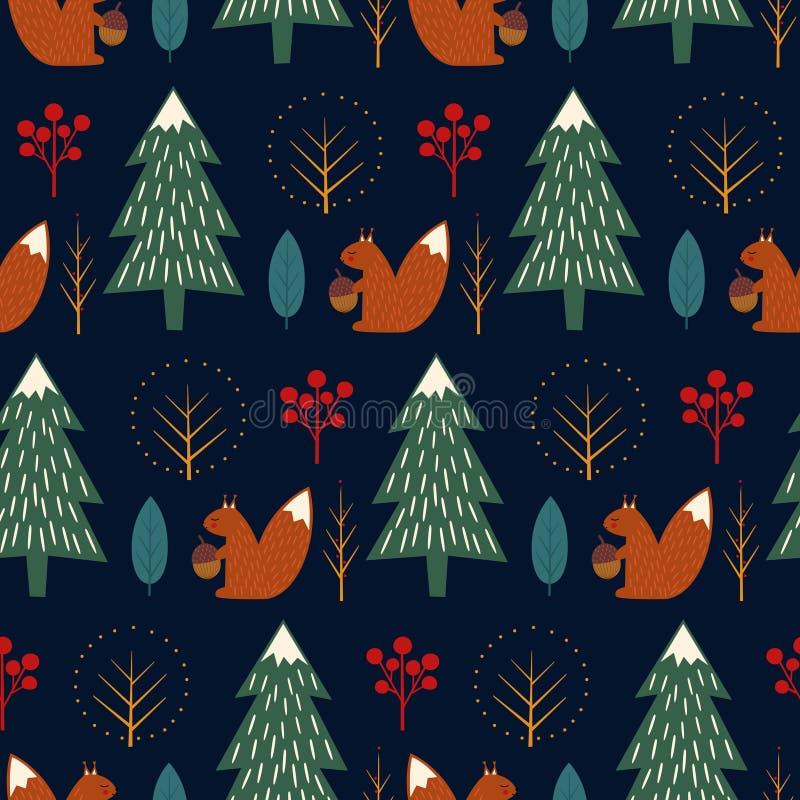 Squirrel in forest seamless pattern on dark blue background. stock illustration