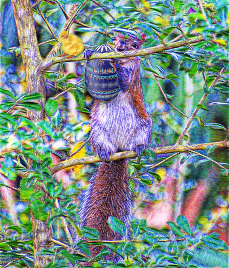 The squirrel gathers a nut that she`s never seen before royalty free illustration