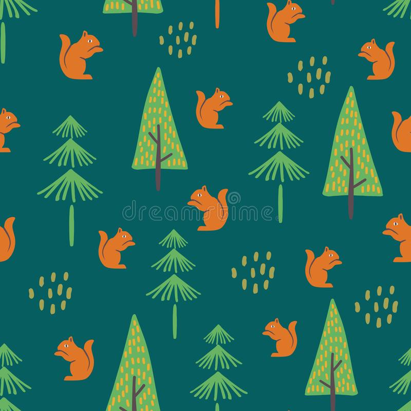 squirrel hand drawn seamless pattern vector illustration with jungle theme vector illustration