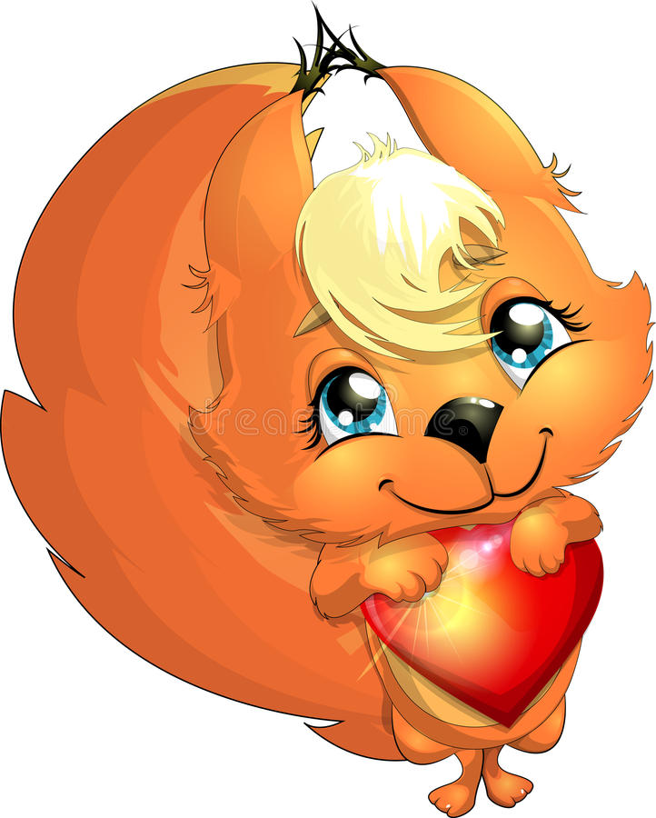 Squirrel and heart. The little squirrel gently holds a heart vector illustration