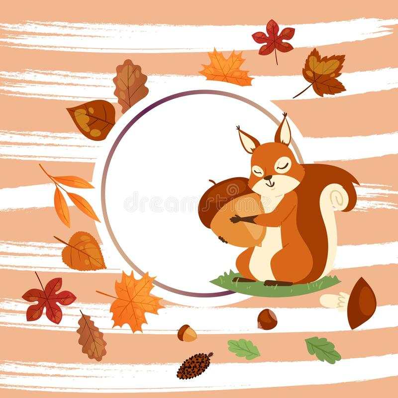 Squirrel hugging acorn and standing on grass in forest banner vector illustration. Loving nuts. Animal likes eating food vector illustration