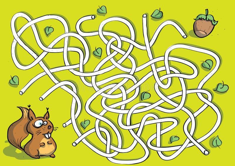 Squirrel il gioco del labirinto illustrazione di stock