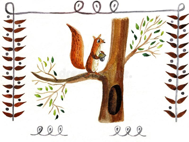 Squirrel isolated on a white background, watercolor royalty free illustration