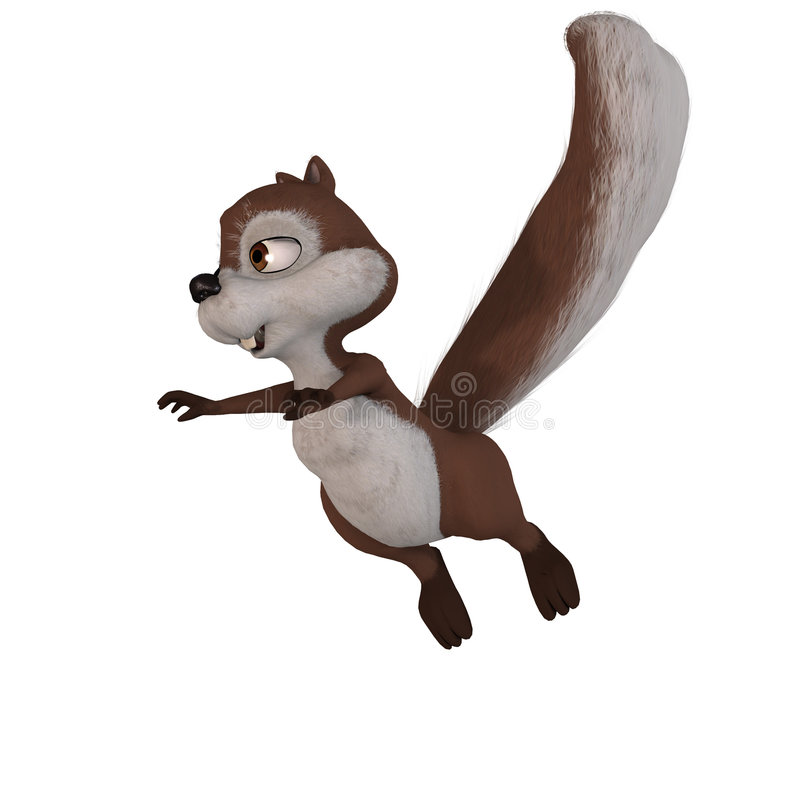 Squirrel jumping royalty free illustration