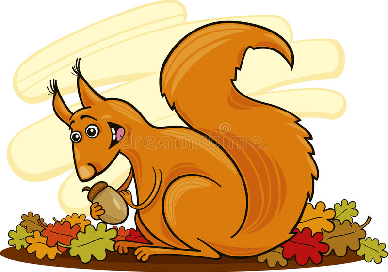 Download Squirrel with nut stock vector. Image of fall, funny - 15872772