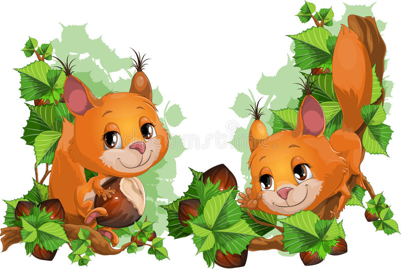 Squirrel and nutlets. The little squirrel tries to keep step with nutlets royalty free illustration