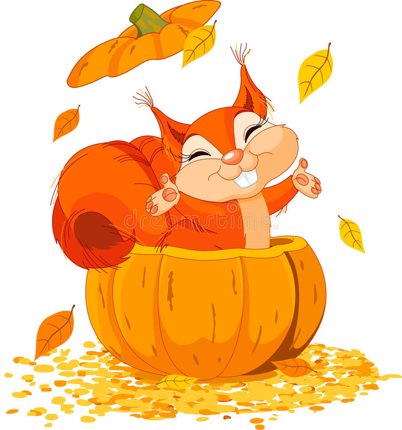 Download Squirrel in pumpkin stock vector. Image of leaf, holiday - 21966051