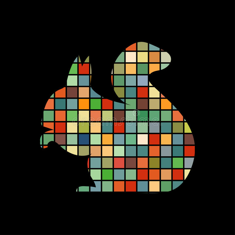 Squirrel rodent mammal color silhouette animal vector illustration