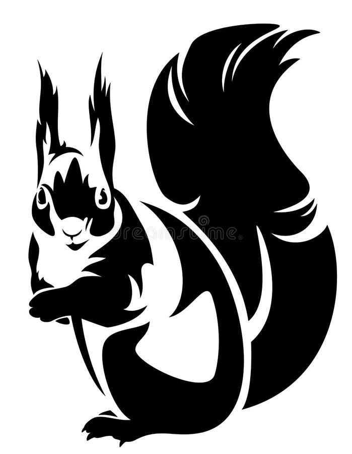 Squirrel. Sitting squirrel (sciurus) - black and white outline