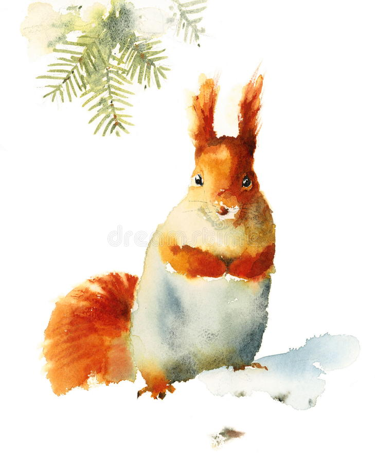 Squirrel Standing on the Snow Wild Animal Winter Illustration Hand Painted vector illustration