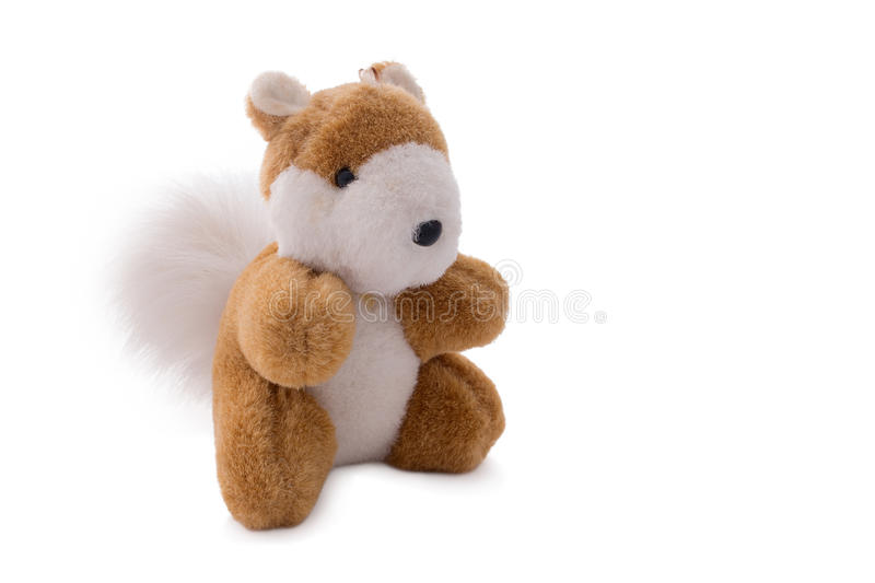 Squirrel toy doll isolated over white. Stuffed soft squirrel toy doll isolated over white. Close up, Horizontal image royalty free stock photos