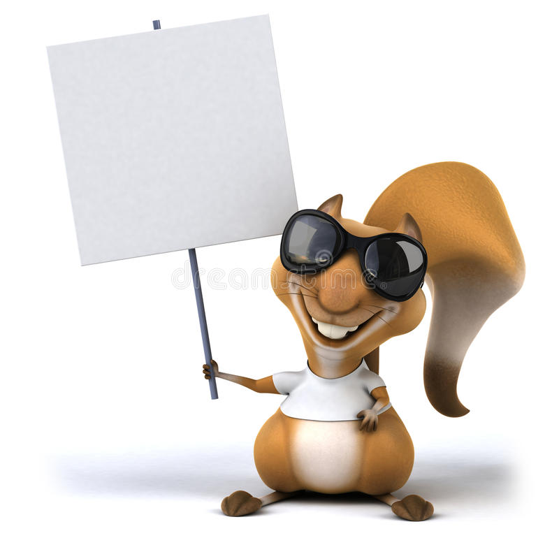 Squirrel with a white tshirt stock illustration
