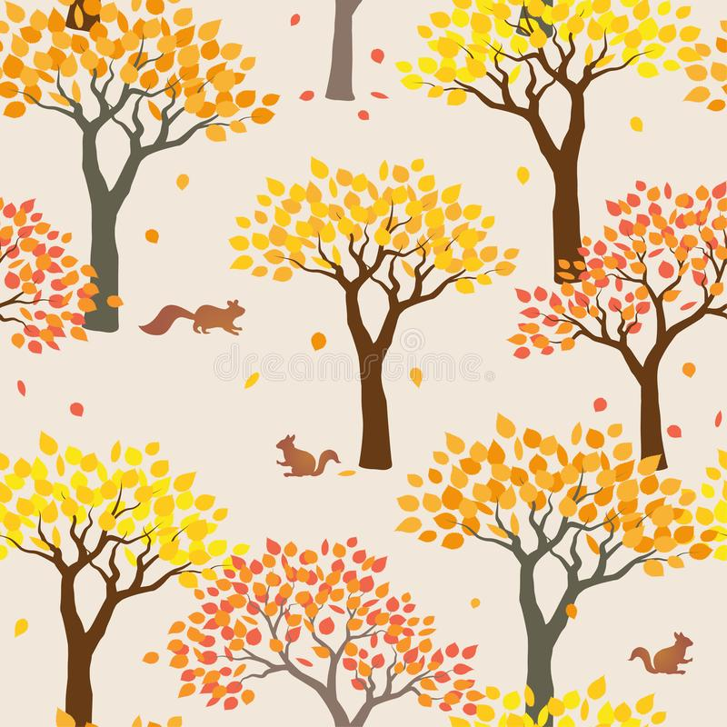 Squirrels with forest on autumn mood seamless pattern for decorative,fashion,fabric,textile,print or wallpaper royalty free illustration