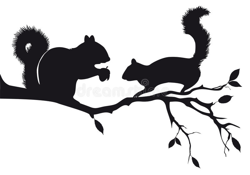 Squirrels On Tree, Vector Stock Photos