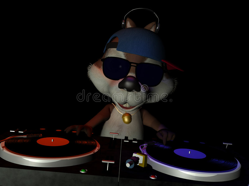Squirrely DJ libre illustration