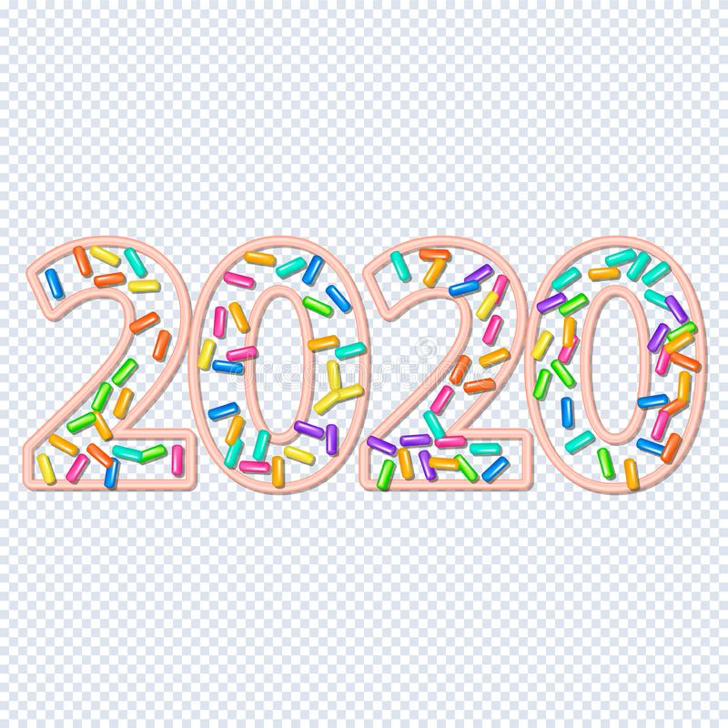 2020 squirting grains design. New Year, inscription 2020. Sprinkle with grains of desserts. Abstract pattern with squirting grainy on a white background. Xmas royalty free illustration