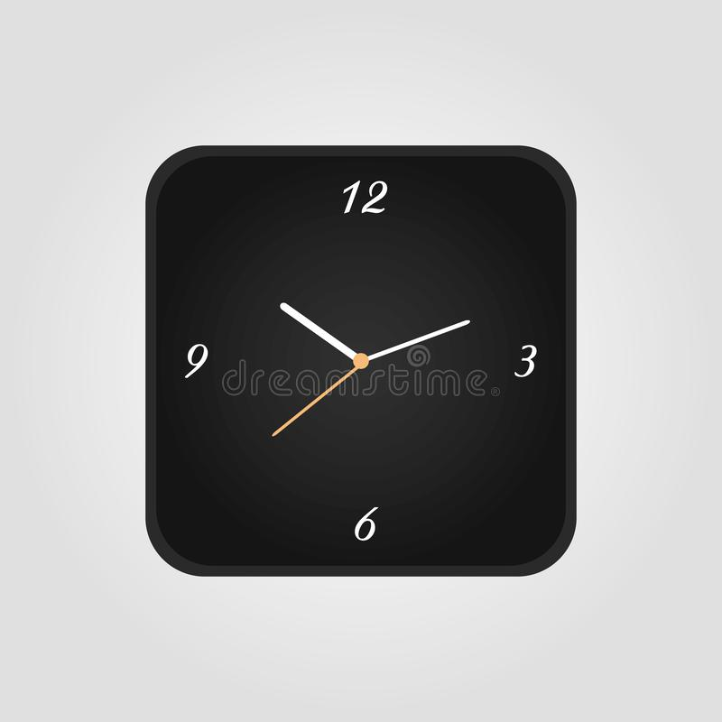 Squre Clock icon in flat style, square timer on white background. Business watch. Vector design element for you project vector illustration