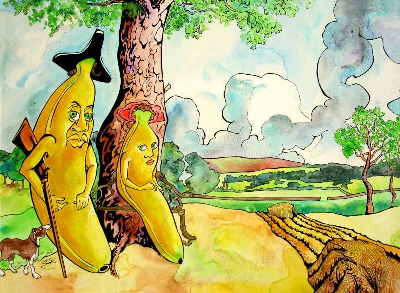 Sr. Banana e sua esposa ilustração do vetor